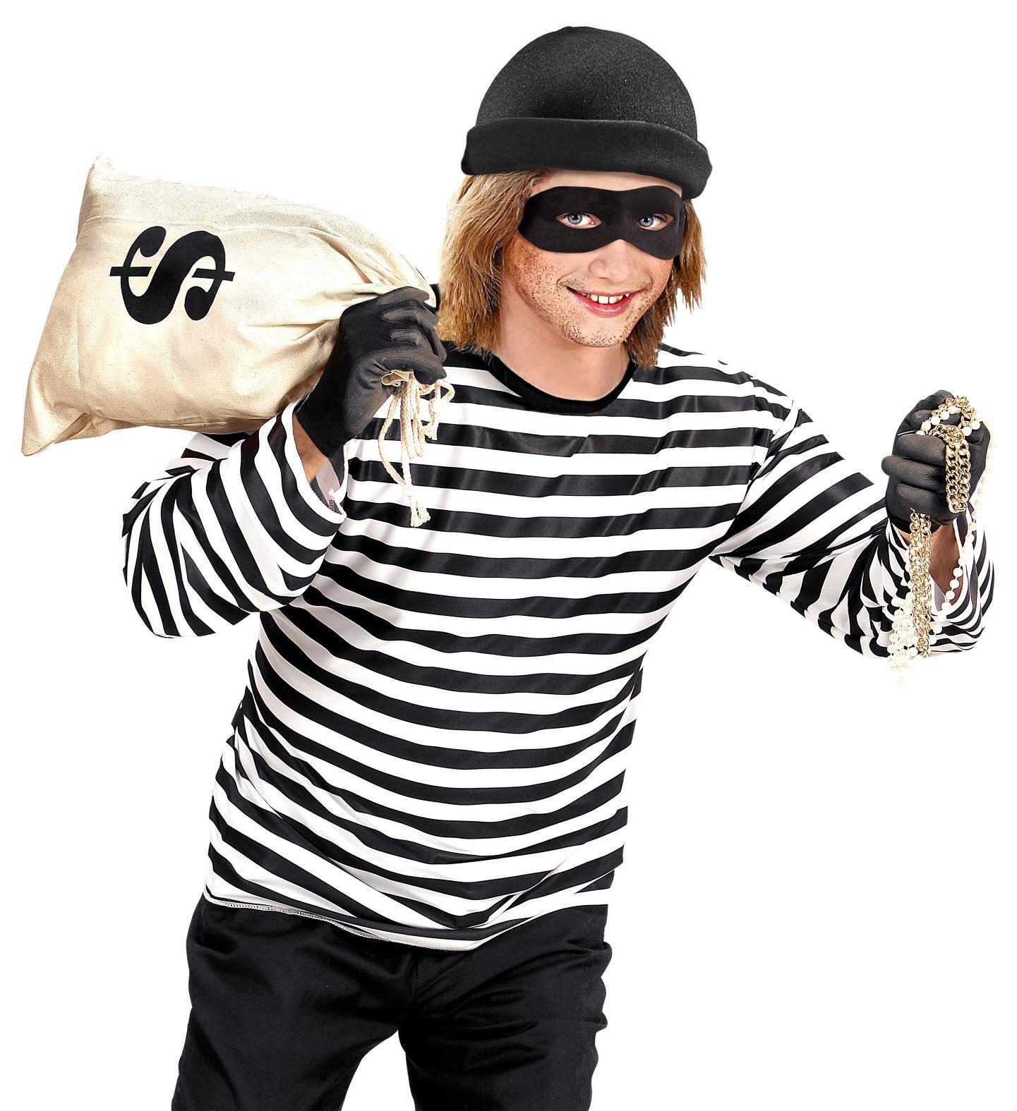 Αποκριάτικο Σέτ Κλέφτη (Μπλούζα ,Μάσκα Και Καπέλο)
