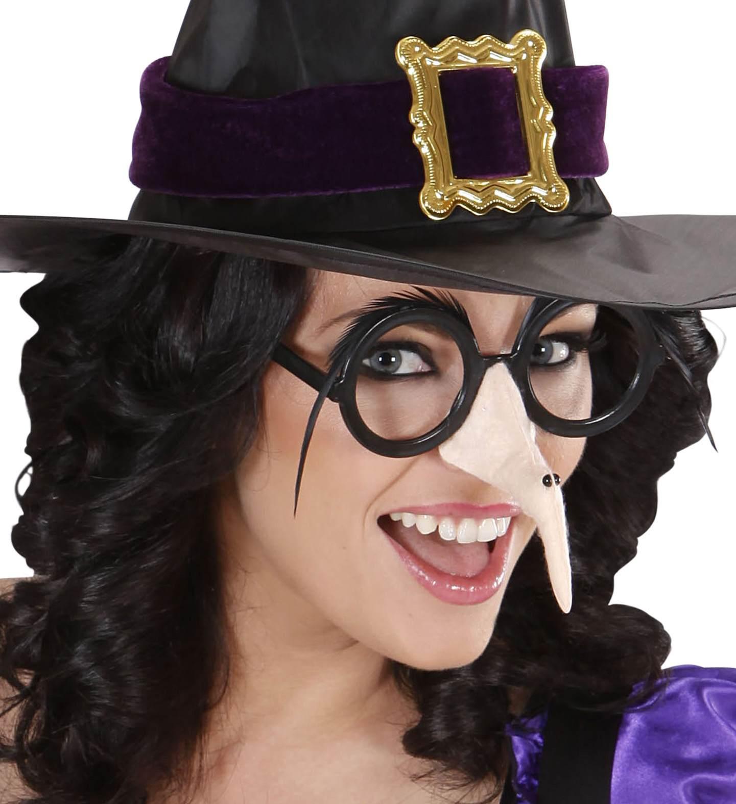 Αποκριάτικα Γυαλιά Με Μύτη Μάγισσας Και Μάυρα Φρύδια