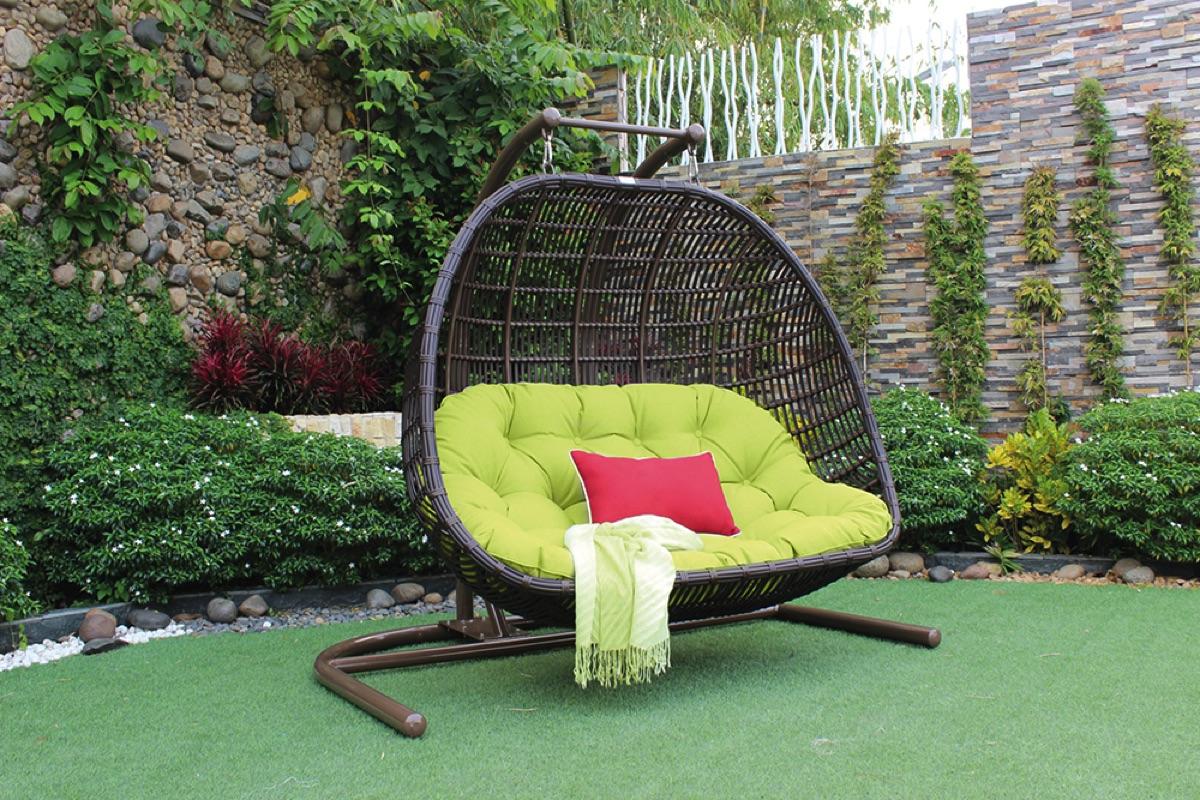 Καφέ Rattan Κουνιστή Καρέκλα 2 Θέσεων,Με Κάθισμα Αλουμινίου Και Μεταλλική Βάση