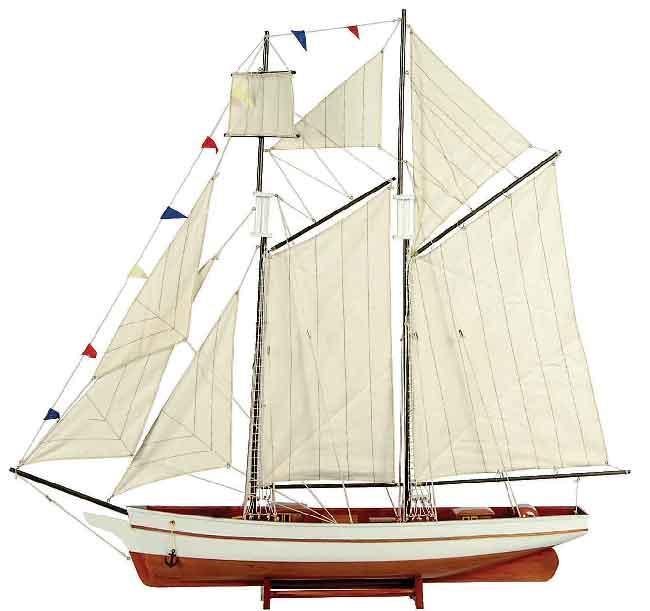 Ξύλινο Παραδοσιακό Καράβι ,Χρώμα Λευκό - Καφέ 50 x 9,5 x 45(h)cm