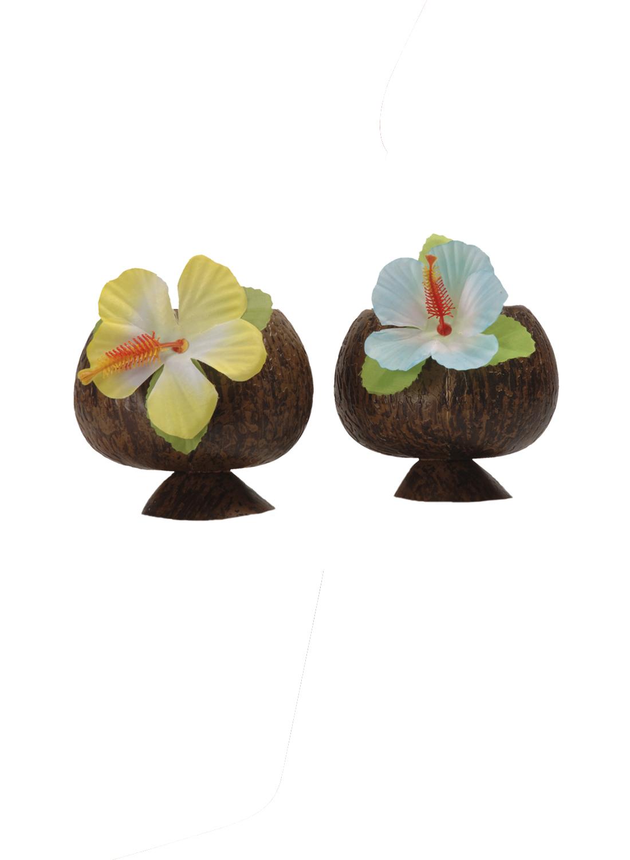 Σέτ Αποκριάτικα Ποτήρια Καρύδας Με Λουλούδι