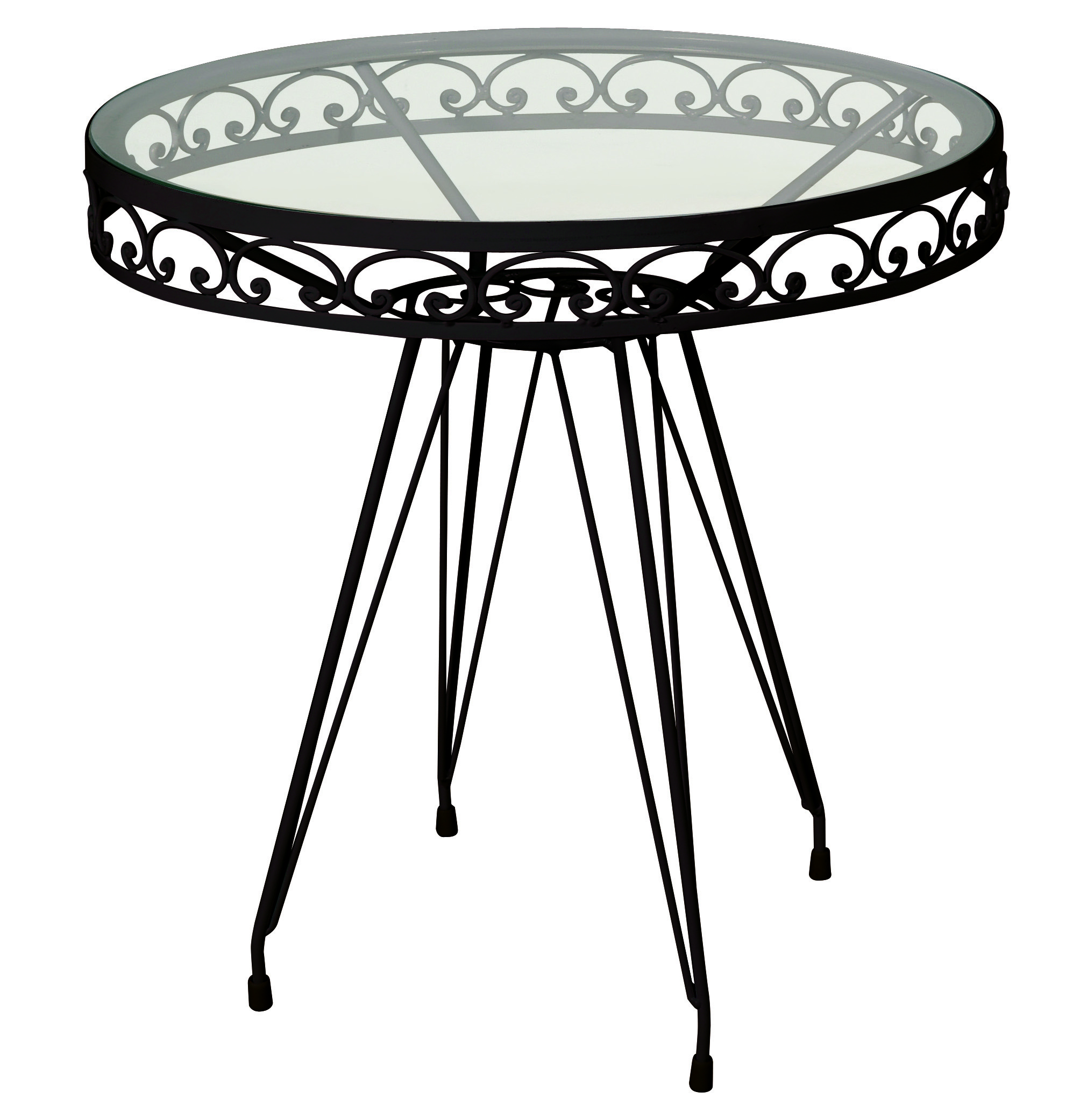 Γαλβανισμένο Στρογγυλό Τραπέζι Μασίφ Με Μονό Τζάμι Ø110 x 75cm