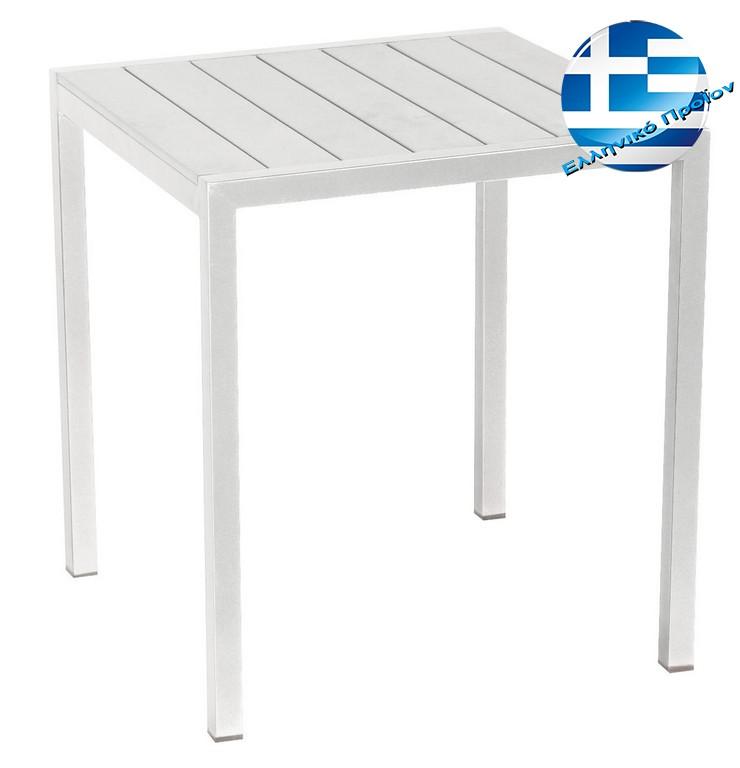 Αγαλβάνιστο Τετράφωνο Μεταλλικό Τραπέζι Pollywood 70 x 70 x 72(H)cm