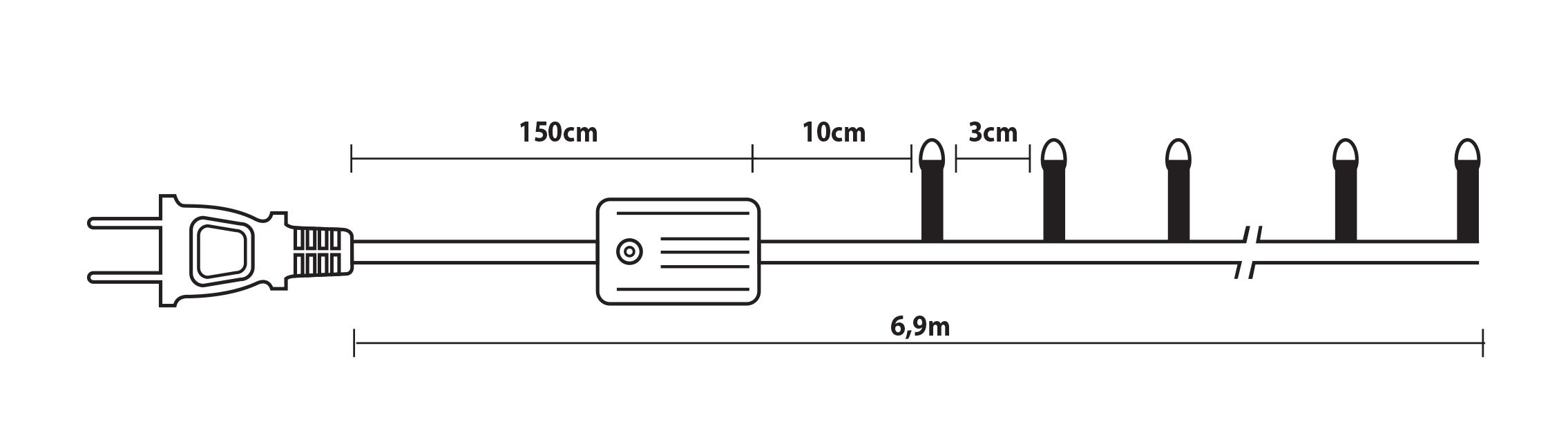 180 Λαμπάκια Με Πρόγραμμα, Πράσινο Καλώδιο/ Πολύχρωμο Λαμπάκι, Απόστασης 6,9 Μέτρων