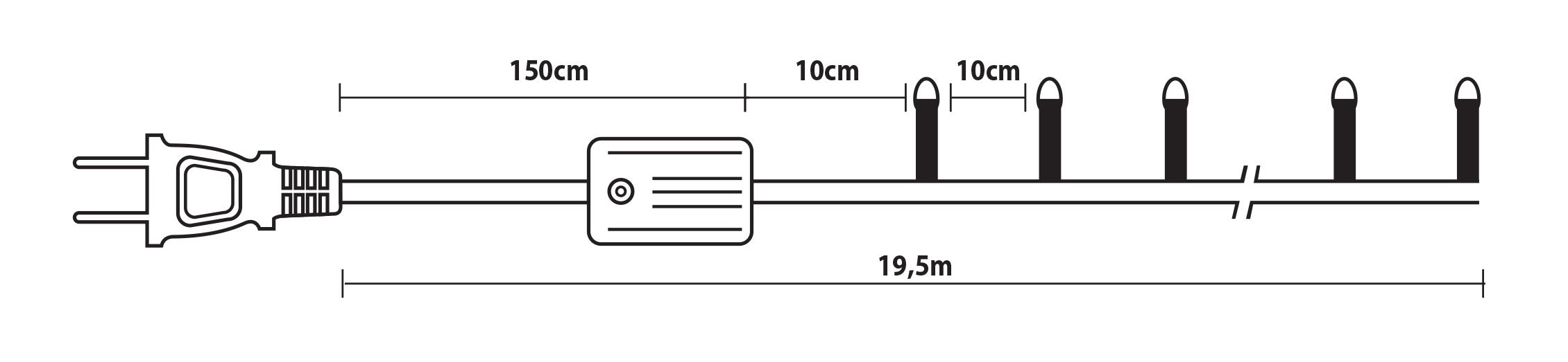 180L GS Λαμπάκια Με Επέκταση Και Πρόγραμμα  ,Πράσινο Καλώδιο/Θερμό Λαμπάκι , 19,5 Μέτρα