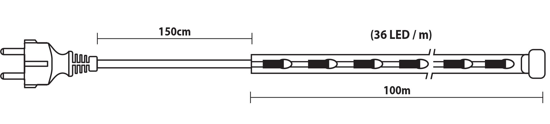 100 Μέτρα Led Φωτοσωλήνας Με Μπλέ Φωτισμό ,Ø12mm-2w,IP44