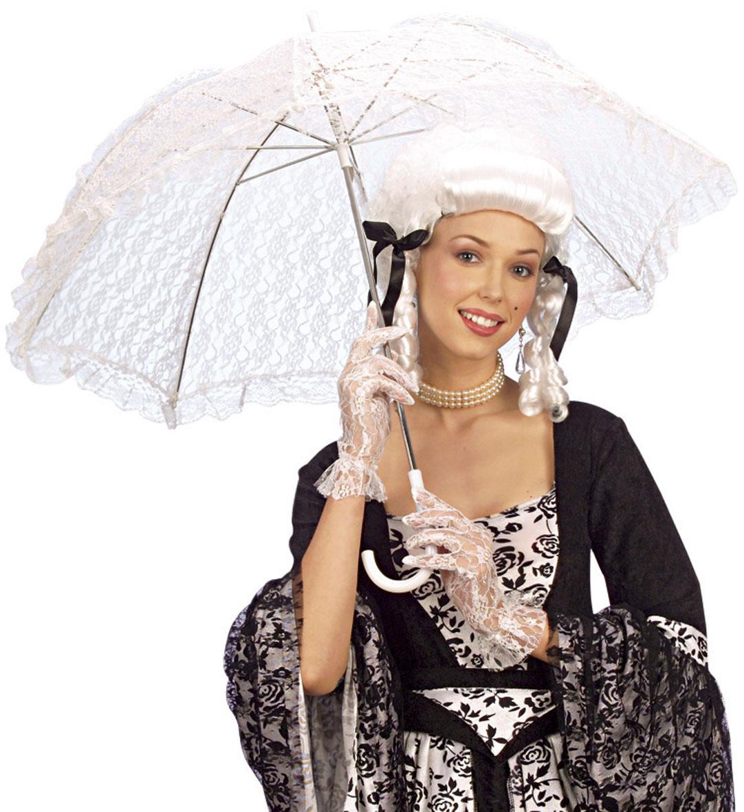 Λευκή Αποκριάτικη Ομπρέλα Με Δαντέλα 83cm