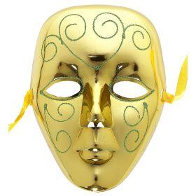 Χρυσή Αποκριάτικη Μάσκα Προσώπου Με Glitter