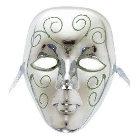 Ασημί Αποκριάτικη Μάσκα Προσώπου Με Glitter