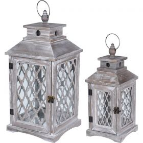Gray Decorative Lantern 15 x 15 x 37 (h) cm