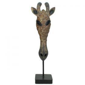 Διακοσμητική Καμηλοπάρδαλη Κεφάλι Πολυρεζίν Με Βάση 43,5cm
