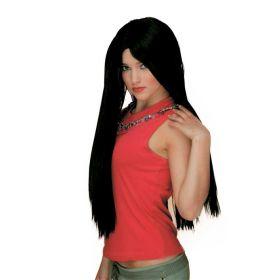 Μάυρη Μακριά Αποκριάτικη Περούκα