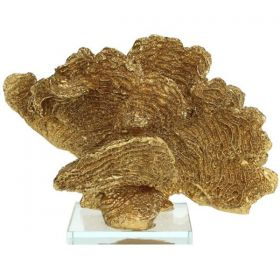 Gold Decorative Shell Polyrezin With base 23 x 11 x 16cm