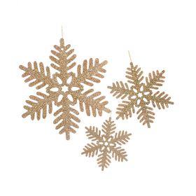 Ξύλινο Κρεμαστό Χριστουγεννιάτικο Στολίδι Με Γκλίτερ,13,17 Και 24cm ,Σέτ 3 Τεμαχίων