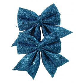 BLUE CHRISTMAS BOW 12cm,SET 2 PIECES