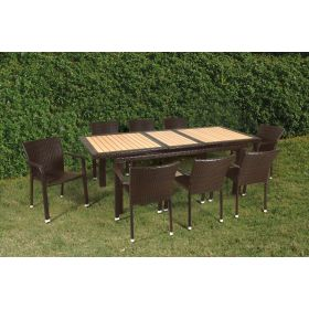Extendable Rattan Dining Set 9 Pieces
