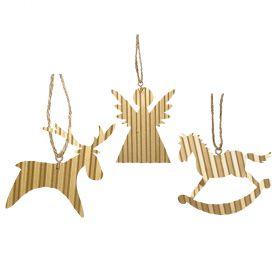 PENDANT METAL CHRISTMAS ORNAMENTS 8 x 8 (H) cm,SET 3 pieces