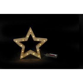 Ξύλινο Διακοσμητικό Αστέρι Με Led Φωτισμό ,20(Η) x 22 x 3cm