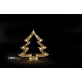 Ξύλινο Διακοσμητικό Δέντρο Με Led Φωτισμό ,20(Η) x 22 x 3cm