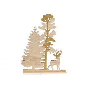 Ξύλινο Επιτραπέζιο Χριστουγεννιάτικο Διακοσμητικό Δέντρο 22 x 30(Η)cm