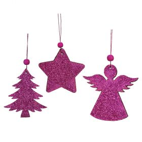 HANGING METAL CHRISTMAS ORNAMENTS 8cm,SET OF 3 PIECES