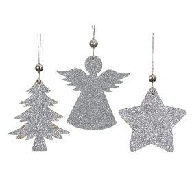 Ξύλινα Κρεμαστά Χριστουγεννιάτικα Στολίδια 8cm ,Σέτ 3 Τεμαχίων
