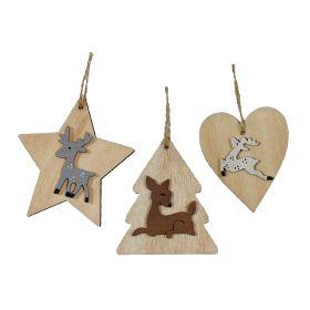 Ξύλινα Κρεμαστά Χριστουγεννιάτικα Στολίδια 7cm ,Σέτ 3 Τεμαχίων