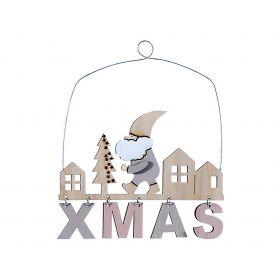 Ξύλινο Κρεμαστό Χριστουγεννιάτικο Στολίδι 20 x 18(h)cm