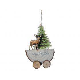 Ξύλινο Κρεμαστό Χριστουγεννιάτικο Στολίδι 2 x 8 x 12(h)cm