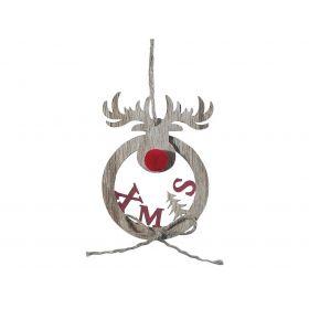 Ξύλινο Κρεμαστό Χριστουγεννιάτικο Στολίδι 8 x 11(h)cm