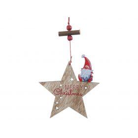 Ξύλινο Κρεμαστό Χριστουγεννιάτικο Στολίδι 11 x 17(h)cm