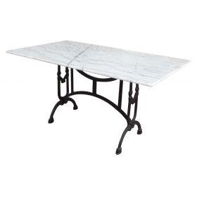 Μεταλλικό Παραλληλόγραμμο Τραπέζι Με Μάρμαρο 140 x 80cm