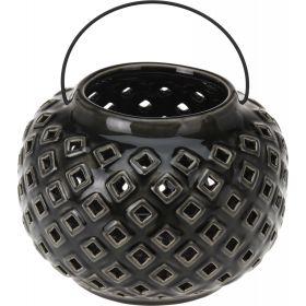 Μάυρο Κεραμικό Διακοσμητικό Φαναράκι 24cm