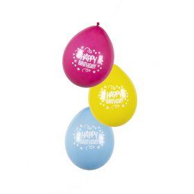 Σέτ 6 Μπαλόνια Λάτεξ Χαρούμενα γενέθλια