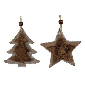Ξύλινα Κρεμαστά Χριστουγεννιάτικα Στολίδια 9 x 9(h)cm ,Σέτ 2 Τεμαχίων