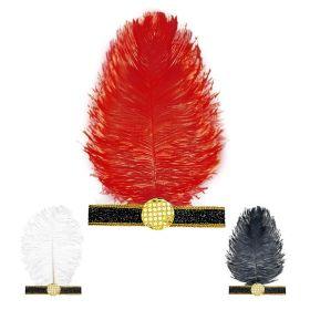 Αποκριάτικος Κεφαλόδεσμος Τσάρλεστον Με Φτερό ,3 Χρώματα ,Πωλούνται Χωριστά