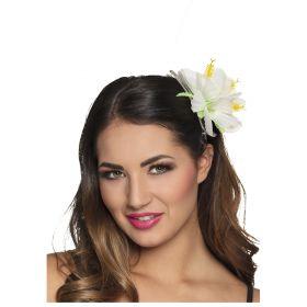 Λευκό Αποκριάτικο Λουλούδι Ιβίσκος Για Τα Μαλλιά