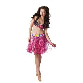 Ρόζ Αποκριάτικη Φούστα Χαβανέζας 45cm