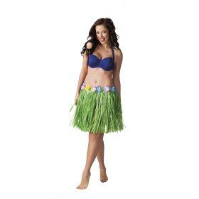 Πράσινη Αποκριάτικη Φούστα Χαβανέζας 45cm