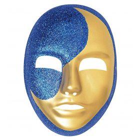 Πλαστική Αποκριάτικη Μάσκα Φεγγάρι Με Γκλίτερ