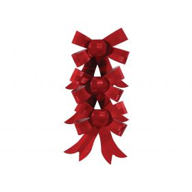 RED Christmas bow 12cm,SET OF 3 PIECES