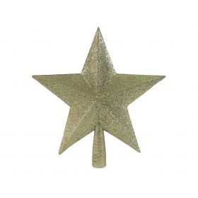 GOLDEN CHRISTMAS TREE TOP WITH GLITTER 23cm
