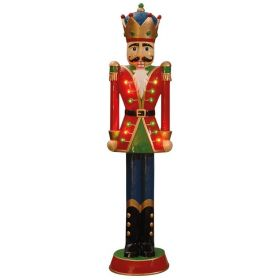 Christmas Wooden Decorative Nutcracker With Led Lights, 23 x 18 x 90(h)cm