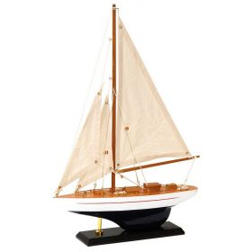 Traditional Wooden Ship 30 x 6, 5 x 43 (H) cm, Color White-Blue