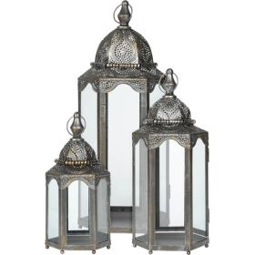 Antike Decorative Metal Lantern Set 3 Pieces