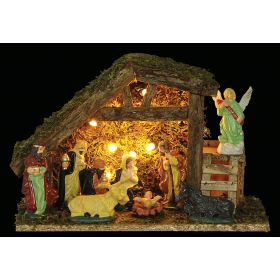 WOODEN CHRISTMAS manger LIGHTS WITH BATTERY,31 x 13 x 21 (h) cm