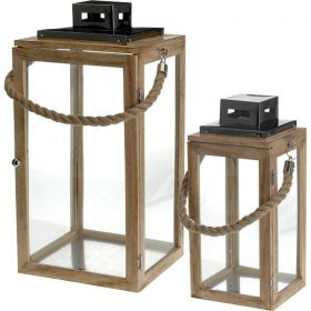 Wooden Decorative Lanterns 2 pieces set