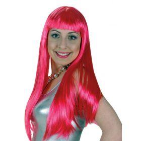 Ρόζ Αποκριάτικη Περούκα Λόλα 24''