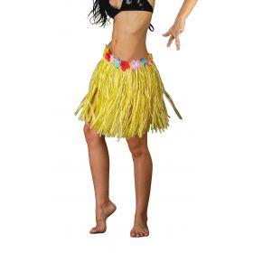Κίτρινη Αποκριάτικη Φούστα Χαβανέζας 45cm