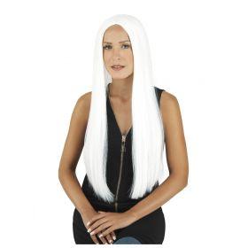 Λευκή Μακριά Αποκριάτικη Περούκα 71cm